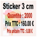 Lot sticker : 3 cm - Quantité : 2 000