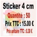 Lot sticker : 4 cm - Quantité : 50