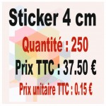 Lot sticker : 4 cm - Quantité : 250