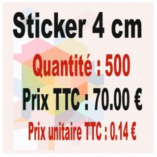 Lot sticker : 4 cm - Quantité : 500