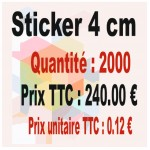 Lot sticker : 4 cm - Quantité : 2000