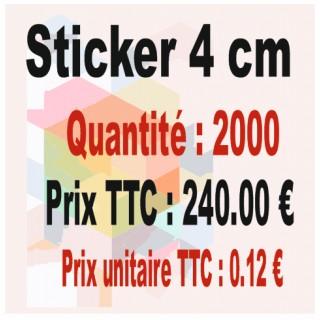 Lot sticker : 4 cm - Quantité : 2000
