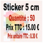 Lot sticker : 5 cm - Quantité : 50