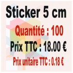 Lot sticker : 5 cm - Quantité : 100
