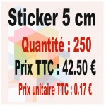 Lot sticker : 5 cm - Quantité : 250