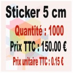 Lot sticker : 5 cm - Quantité : 1000