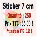 Lot sticker : 7 cm - Quantité : 250