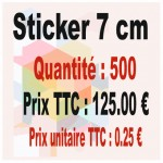 Lot sticker : 7 cm - Quantité : 500
