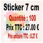 Lot sticker : 7 cm - Quantité : 100