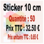 Lot sticker : 10 cm - Quantité : 50