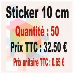 Lot sticker : 10 cm - Quantité : 50