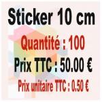 Lot sticker : 10 cm - Quantité : 100