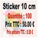 Lot sticker : 10 cm - Quantité : 100