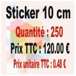 Lot sticker : 10 cm - Quantité : 250