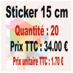 Lot sticker : 15 cm - Quantité : 20