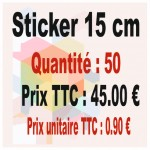 Lot sticker : 15 cm - Quantité : 50