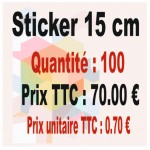 Lot sticker : 15 cm - Quantité : 100