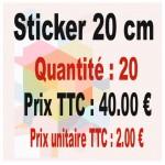 Lot sticker : 20 cm - Quantité : 20