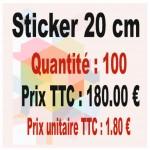 Lot sticker : 20 cm - Quantité : 100