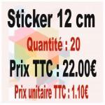 Lot sticker : 12 cm - Quantité : 20