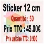 Lot sticker : 12 cm - Quantité : 50