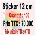 Lot sticker : 12 cm - Quantité : 100