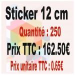 Lot sticker : 12 cm - Quantité : 250