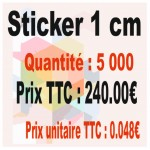 Lot sticker : 1 cm - Quantité : 5000