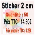 Lot sticker : 2 cm - Quantité : 50