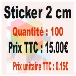 Lot sticker : 2 cm - Quantité : 100
