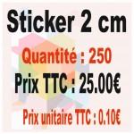 Lot sticker : 2 cm - Quantité : 250