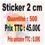 Lot sticker : 2 cm - Quantité : 500