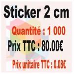 Lot sticker : 2 cm - Quantité : 1000