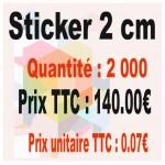 Lot sticker : 2 cm - Quantité : 2000