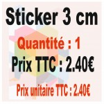 Lot sticker : 3 cm - Quantité : 1