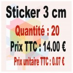 Lot sticker : 3 cm - Quantité : 20
