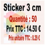 Lot sticker : 3 cm - Quantité : 50