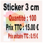 Lot sticker : 3 cm - Quantité : 100