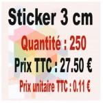 Lot sticker : 3 cm - Quantité : 250