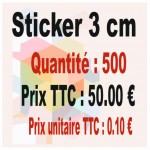 Lot sticker : 3 cm - Quantité : 500