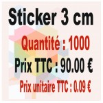 Lot sticker : 3 cm - Quantité : 1 000