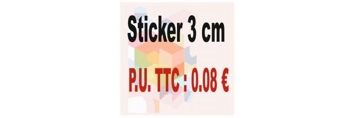 Sticker 3 cm : Quantité de 1 à 2 000